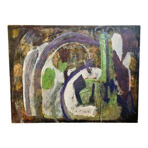 """Hope"" Vintage 70s Abstract Expressionist Painting"